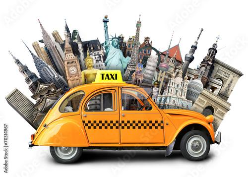 Fototapeta Retro taxi on the background of landmarks, travel