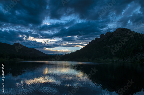 Canvas Prints Night blue Mountain lake at Sunset