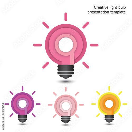 Deurstickers Schepselen Creative pencil and light bulb design. Flat design style modern