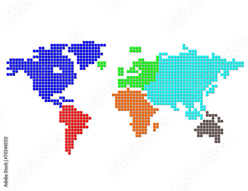 Garden Poster World Map Square Dot Map of the World Color Gontinents