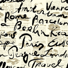 Tapeta Travel background with inscriptions name of cities