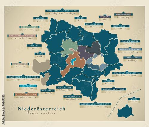 Moderne Landkarte - Niederösterreich AT Canvas Print