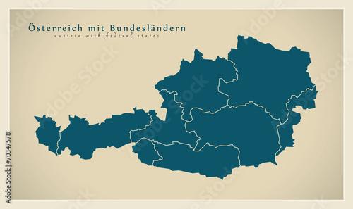 Moderne Landkarte - Österreich mit Bundesländern AT Fototapet