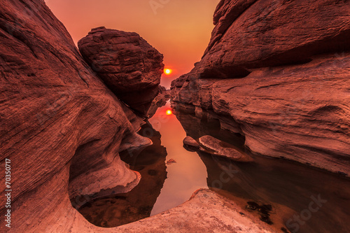 Canvas Prints Reflection Grand Canyon of Thailand called Sam-Pan-Bok in the sunset