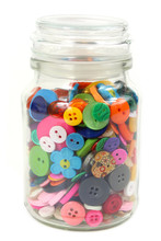 Colorful Haberdashery Buttons In A Glass Jar. Vertical On White