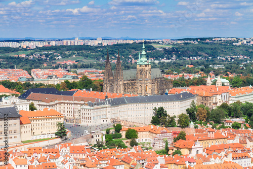Photo  cityscape of Prague with Vitus cathedral