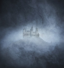 Halloween background with spooky and ancient castle