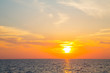 canvas print picture - Sonnenuntergang mit Meer und Horizont als Hintergrund