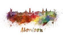 Aberdeen Skyline In Watercolor