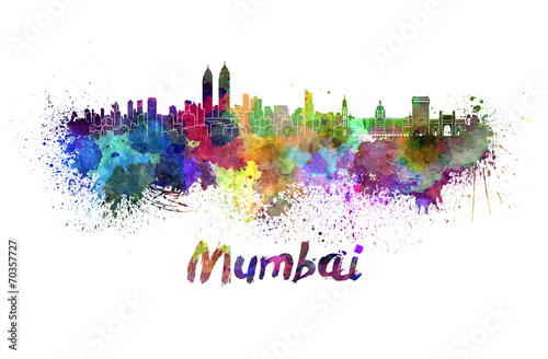 фотография  Mumbai skyline in watercolor