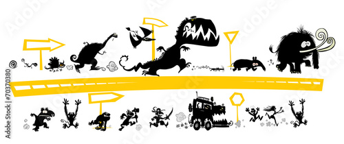 Fototapeta Running  Silhouettes on the Evolution scale with road signs. obraz