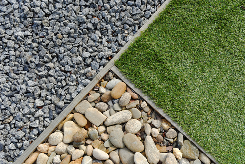 Poster de jardin Taupe Combinations of grass and stones