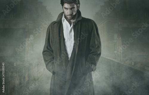 Vampire in the fog Wallpaper Mural