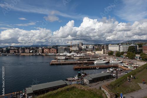 Photo  Вид на Осло  и Осло-фьорд со стены кре́пости Акерсху́с. Норвегия