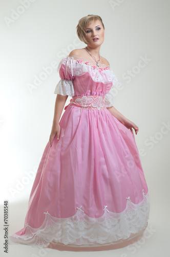 Garden Poster Blond woman in beautiful long pink dress