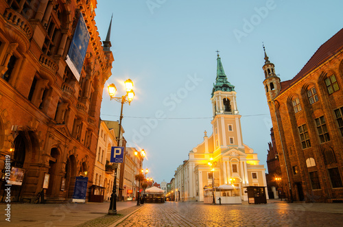 Early morning in Old Town of Torun, Poland. City Hall