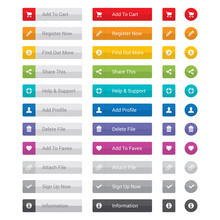 Web Button Set In Various Colo...