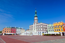Zamosc, Poland. Historic Buildings With The Town Hall.
