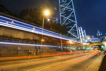 Fototapeta na wymiar Modern city at night, Hong Kong, China.