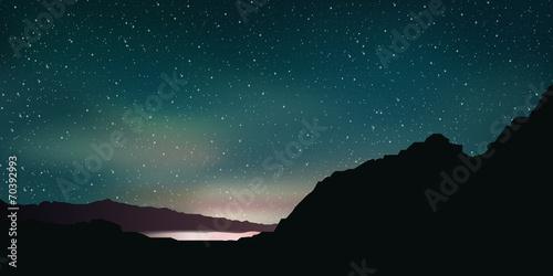 In de dag Groen blauw Paysage nocturne