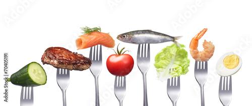 Fotografie, Obraz  Gesunde fettarme Ernährung