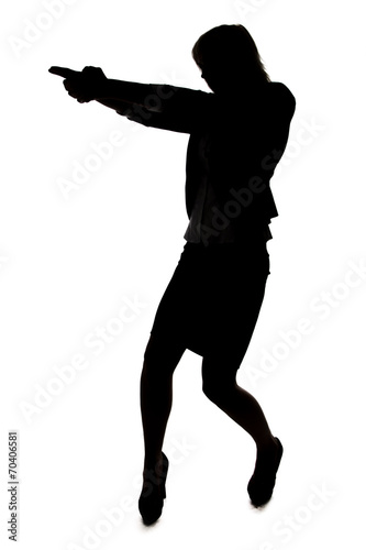 Silhouette of woman with handgun плакат