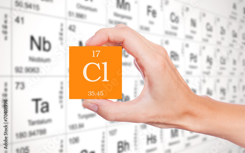 Chlorine symbol handheld in front of the periodic table buy this chlorine symbol handheld in front of the periodic table urtaz Gallery