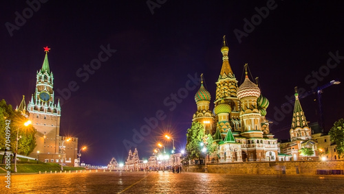Saint Basil Cathedral and Kremlin in Moscow