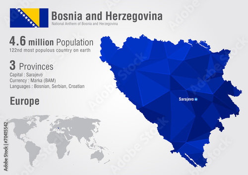 Fotomural Bosnia world map with a pixel diamond texture.
