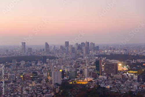 Fotobehang Midden Oosten Tokyo in the twilight, direction to Shibuya, Shinjuku