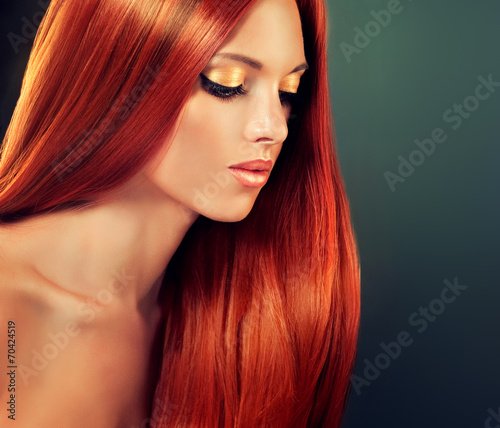 Fotografie, Obraz Beautiful model with long red hair