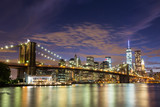 Brooklyn Bridge and Downtown Skyscrapers in New York at Dusk