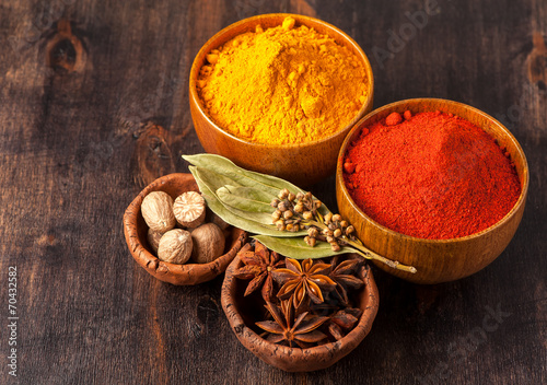 Recess Fitting Spices Spices. Curry, paprika, nutmeg, cardamom, bay leaf, anis.