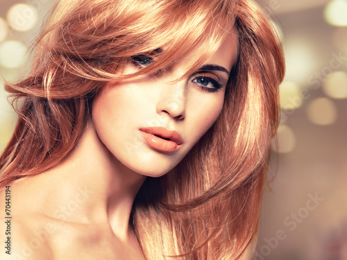 Portrait of a beautiful woman with long straight red hair Wallpaper Mural