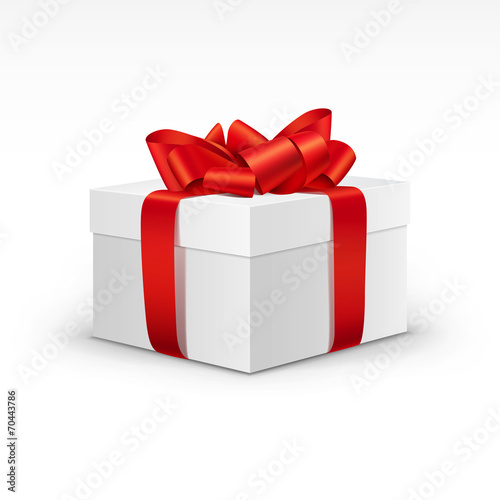 Fotografie, Obraz  White Gift Box with Bright Red Ribbon Isolated