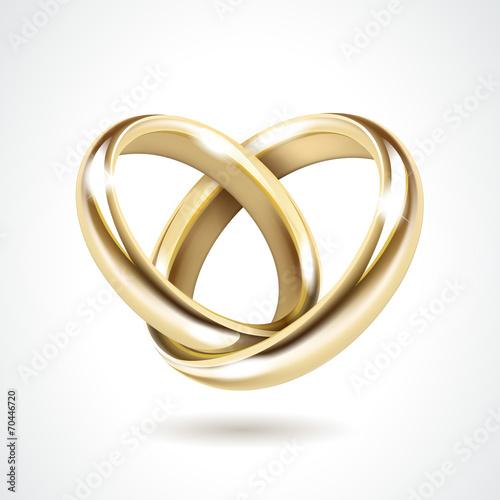 Fotografie, Obraz  Vector Gold Wedding Rings Isolated
