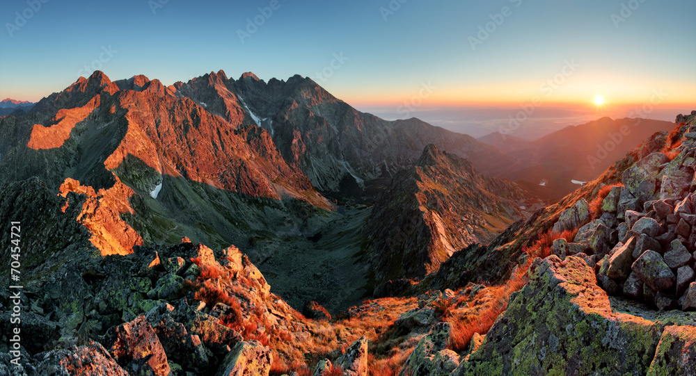 Fototapety, obrazy: Mountain sunset panorama from peak - Slovakia Tatras