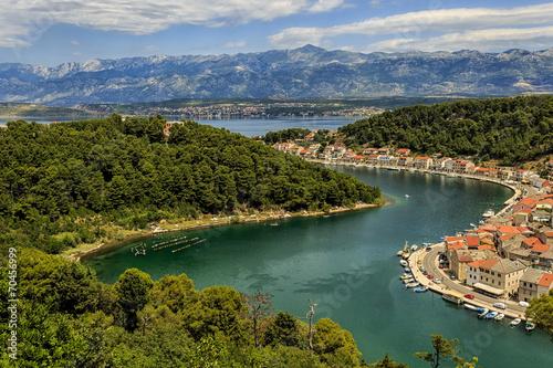 Fotografie, Obraz  Dalmatian town Novigrad with Velebit in background
