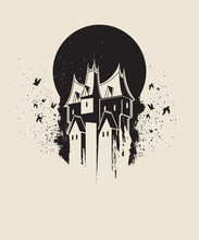 Dark Gothic House Against Blac...