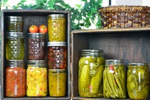 .Jars Of Home Canned Vegetable...
