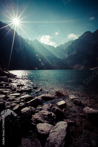Fototapeta Green water mountain lake Morskie Oko, Tatra Mountains, Poland obraz