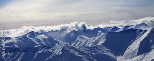 Panorama of evening mountains