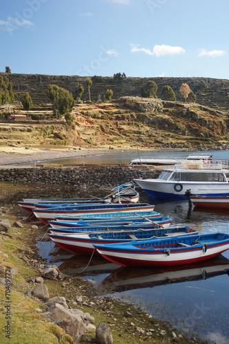 Foto op Canvas Nepal Boats.Amantani Island in Lake Titicaca, Puno, Peru