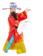 God Of Wealth Making A Welcome Gesture. Isolated On White