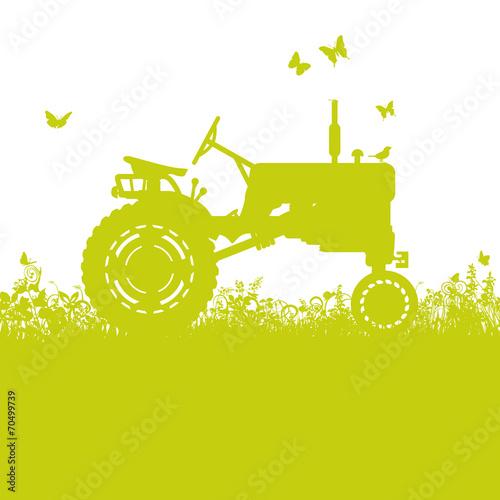 Photo  Traktor auf der Wiese