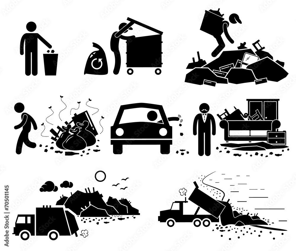 Fototapeta Rubbish Trash Garbage Waste Dump Site Pictogram Icons