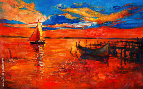 Photo sur Toile Rouge Boats