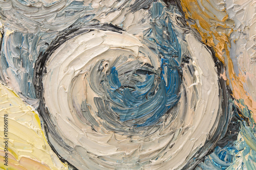 Abstract oil painting of circles. © indigolotos