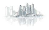 Skyline perspective drawing - 70507130