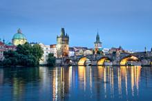 Vltava River And Charles Bridge By Night, Prague, Czech Republic